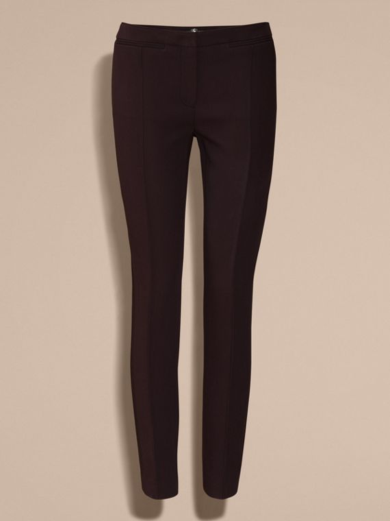 Dark elderberry Wool Silk Straight Leg Trousers Dark Elderberry - cell image 3