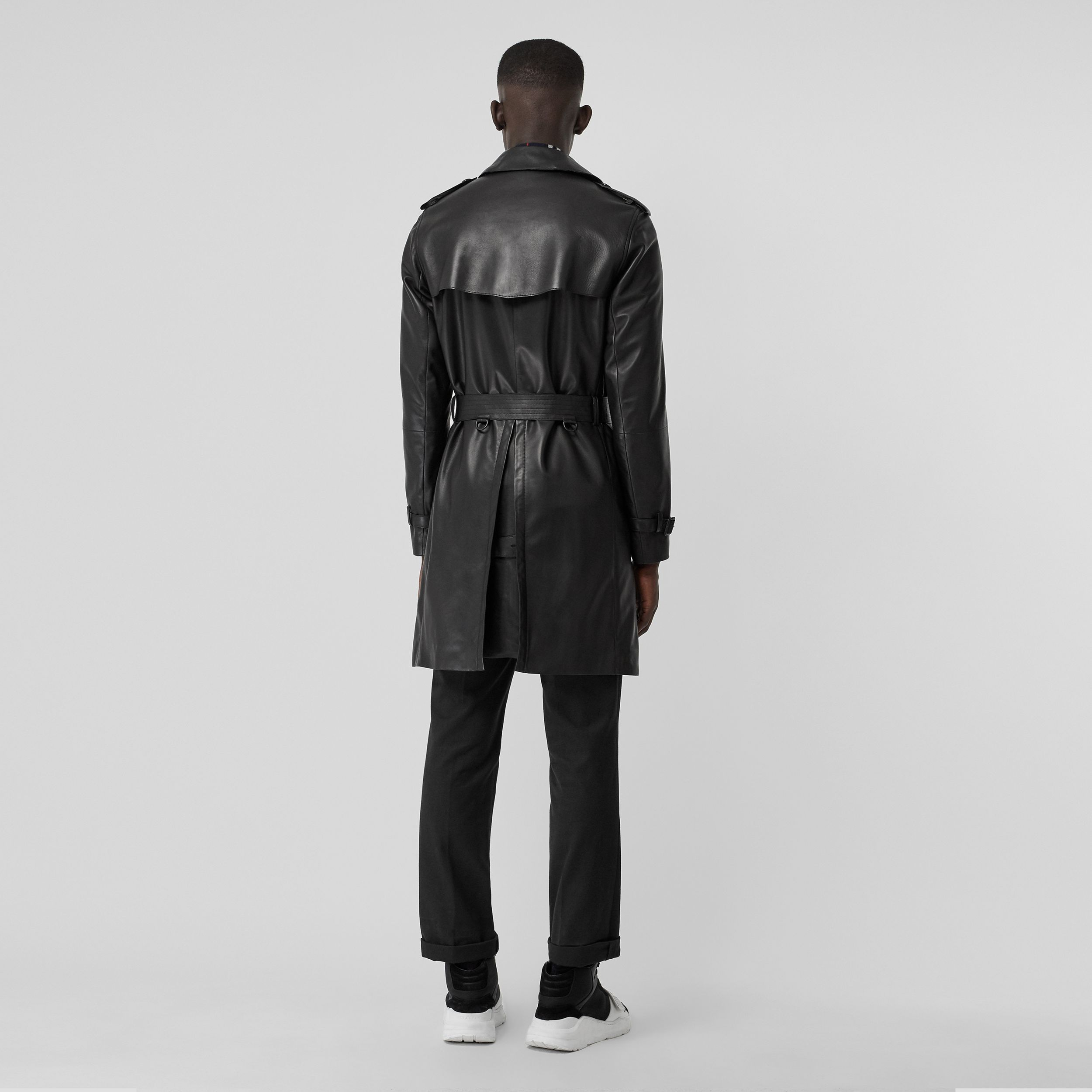 Lambskin Trench Coat in Black - Men | Burberry - 3