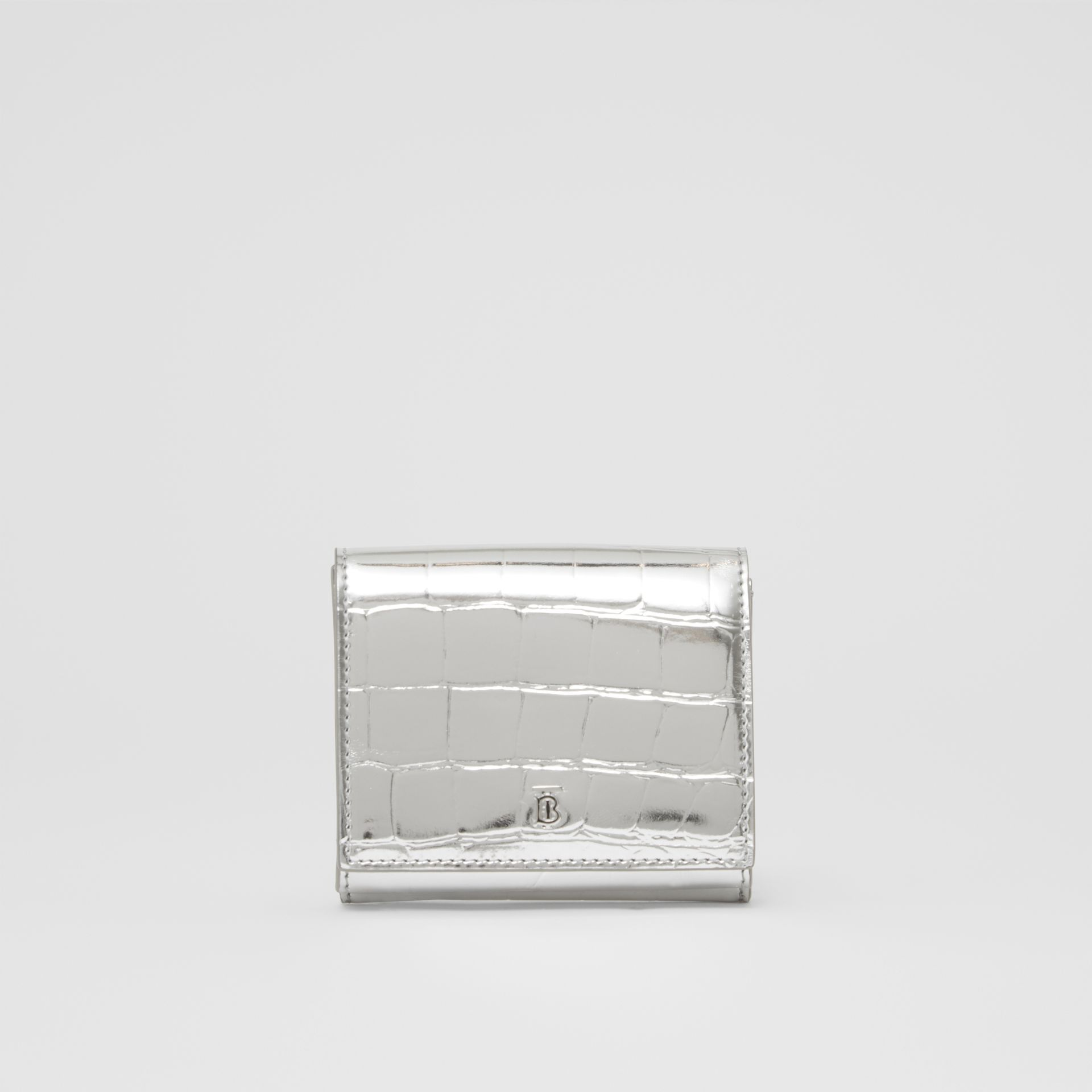 Metallic Embossed Folding Wallet in Silver - Women | Burberry United Kingdom - gallery image 0