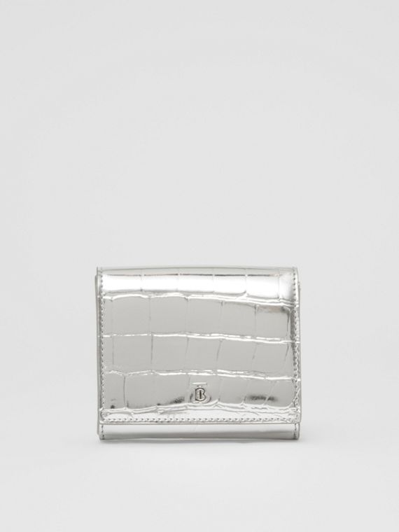 Metallic Embossed Folding Wallet in Silver