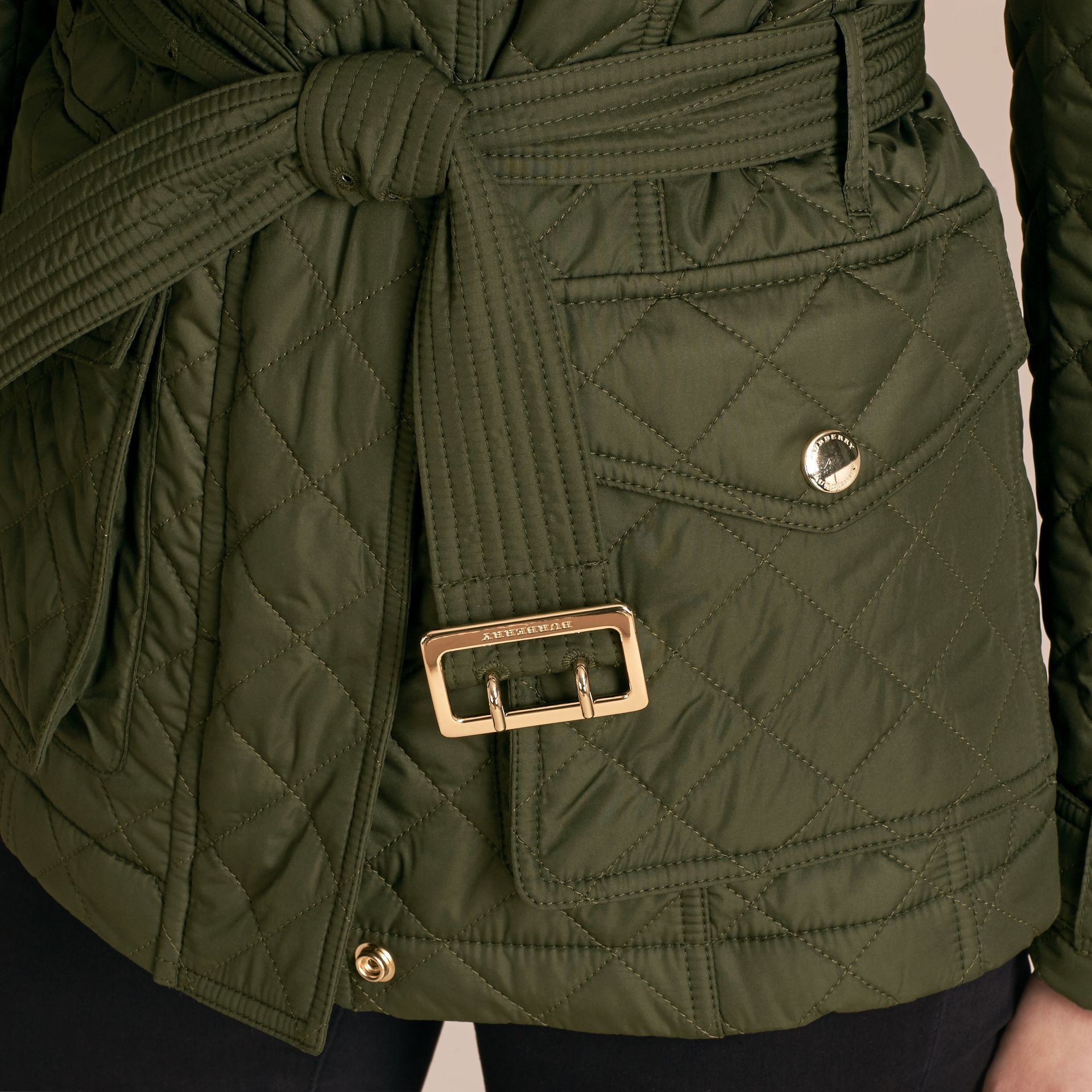 Buckle Detail Technical Field Jacket in Military Green - gallery image 6