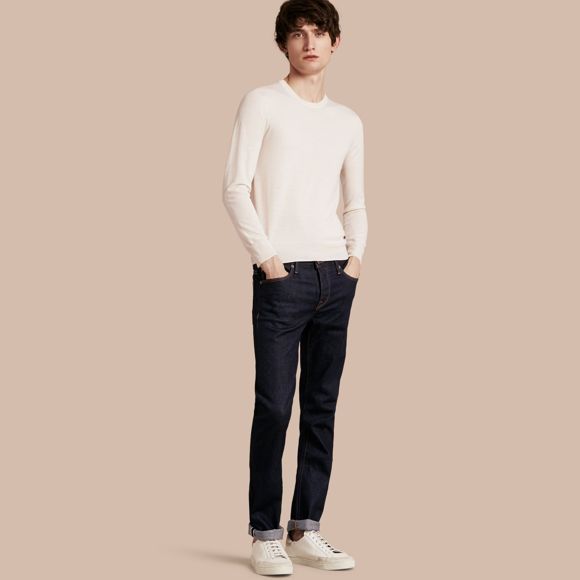 Straight Fit Stretch Japanese Selvedge Denim Jeans - Men | Burberry - gallery image 1