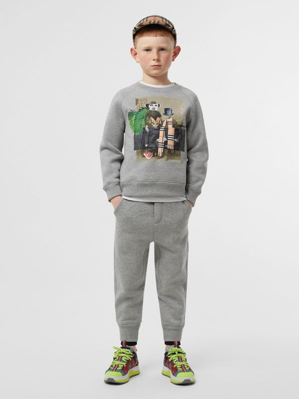 Collage Print Cotton Blend Sweatshirt in Grey Melange | Burberry - cell image 3