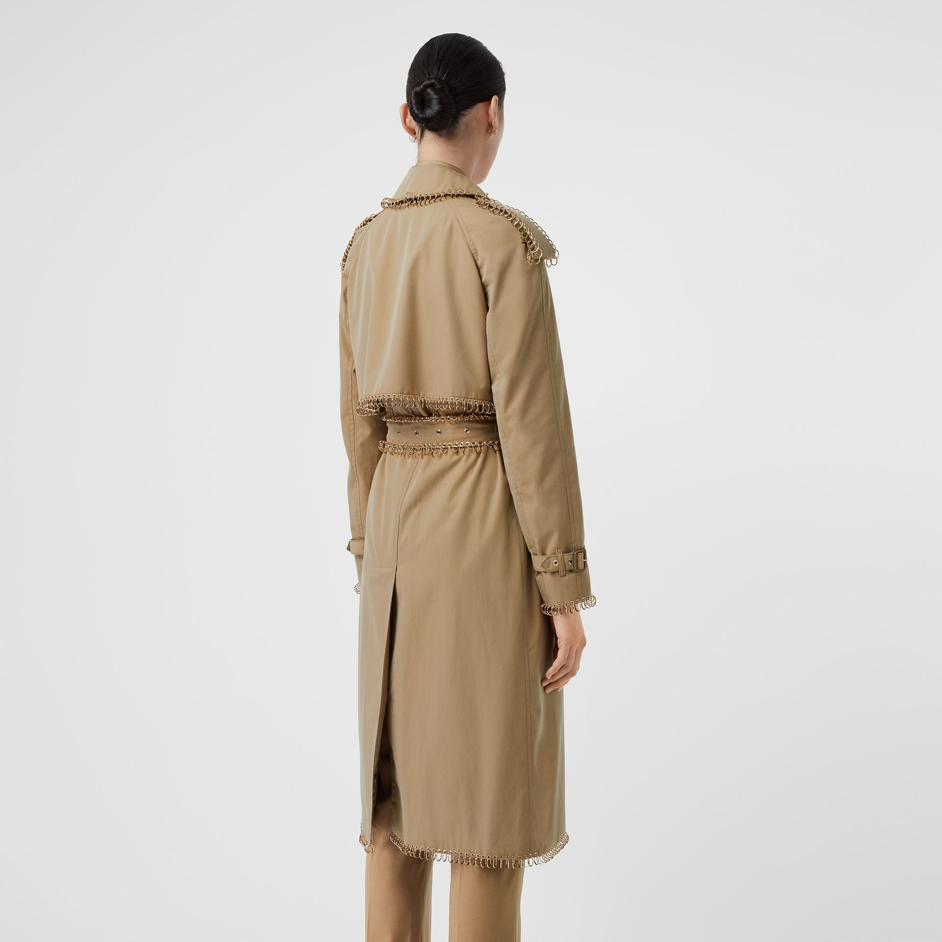 Ring-pierced Cotton Gabardine Trench Coat in Pale Honey - Women | Burberry - gallery image 2