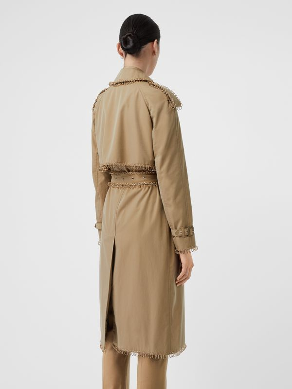 Ring-pierced Cotton Gabardine Trench Coat in Pale Honey - Women | Burberry - cell image 2