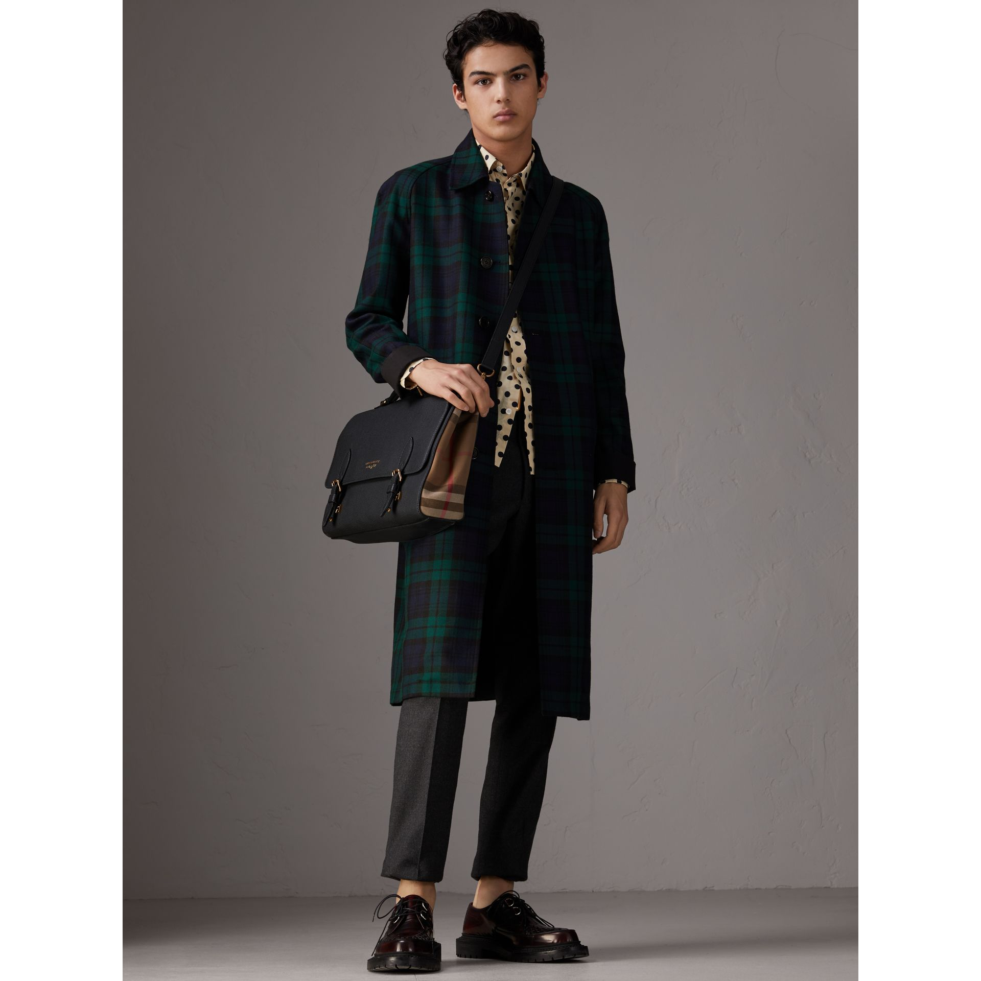 Sac cartable en cuir et coton House check (Noir) - Homme | Burberry - photo de la galerie 3