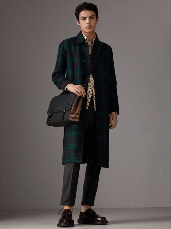Sac cartable en cuir et coton House check (Noir) - Homme | Burberry - cell image 2