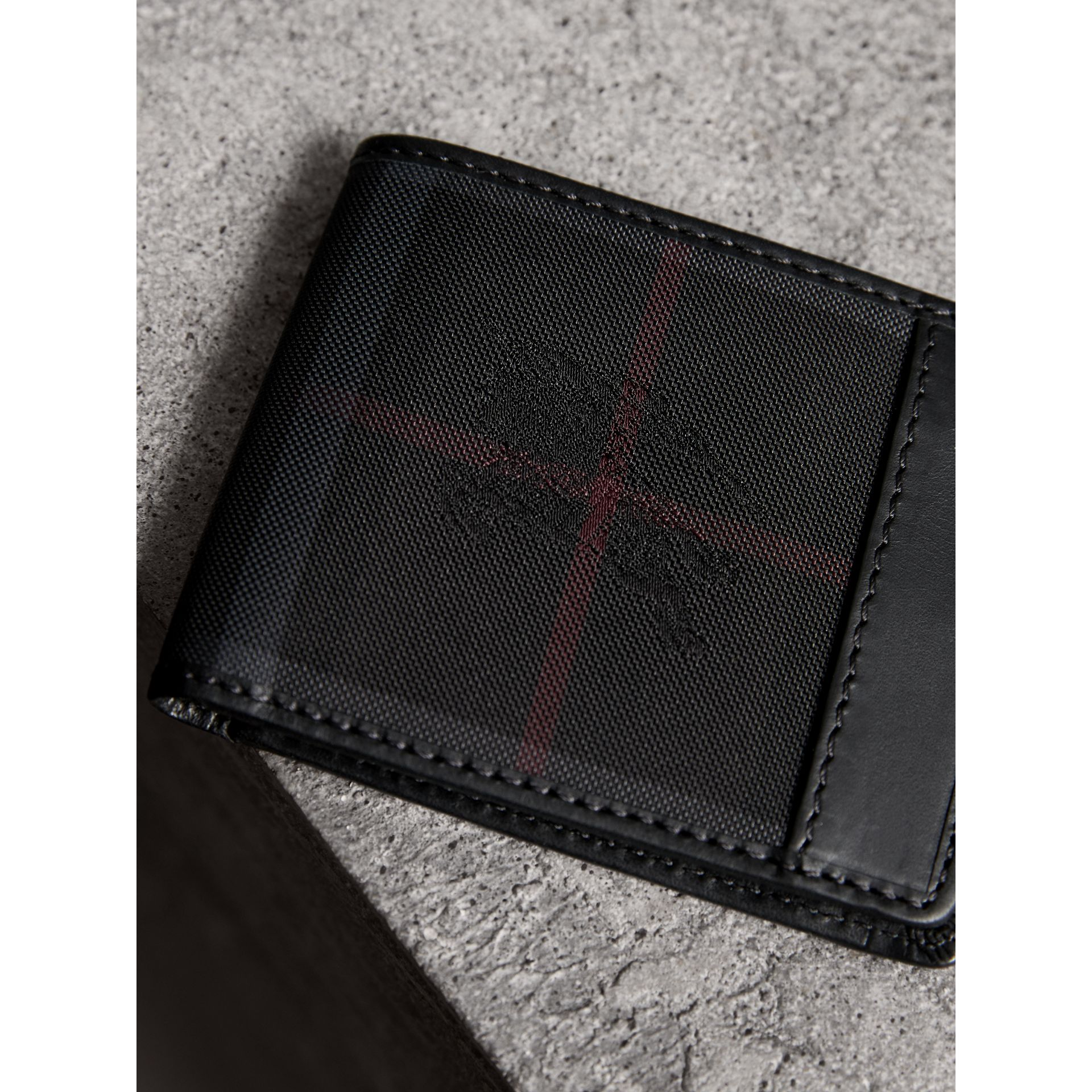 Horseferry Check Wallet in Charcoal/black - Men | Burberry - gallery image 1