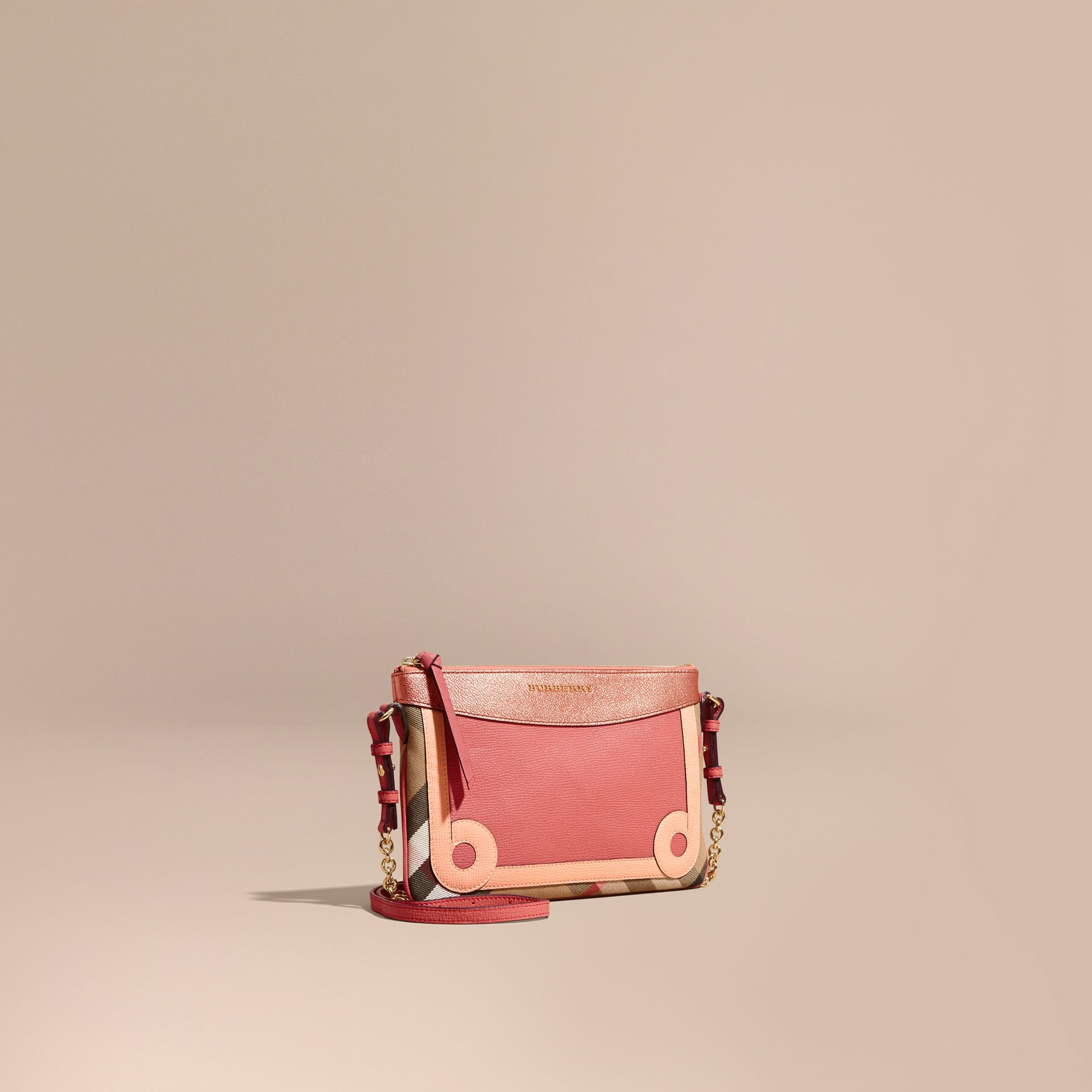 House Check and Leather Clutch Bag in Copper Pink - gallery image 1