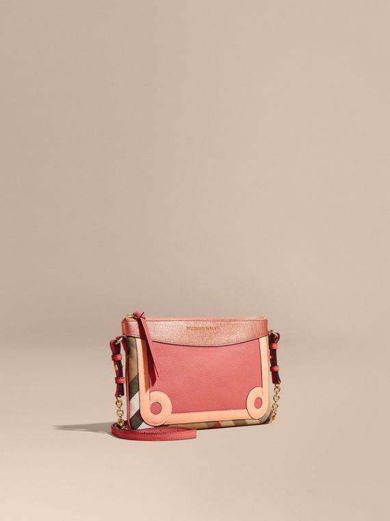 House Check and Leather Clutch Bag Copper Pink