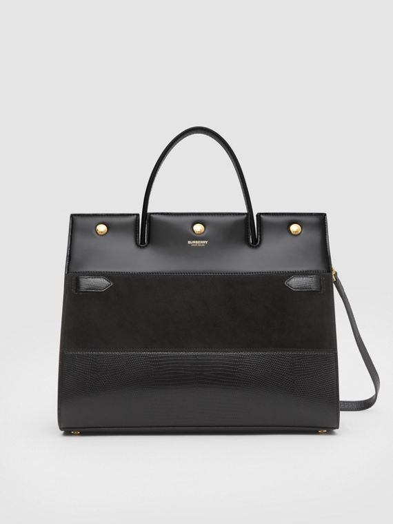 Medium Panelled Deerskin and Suede Title Bag in Black
