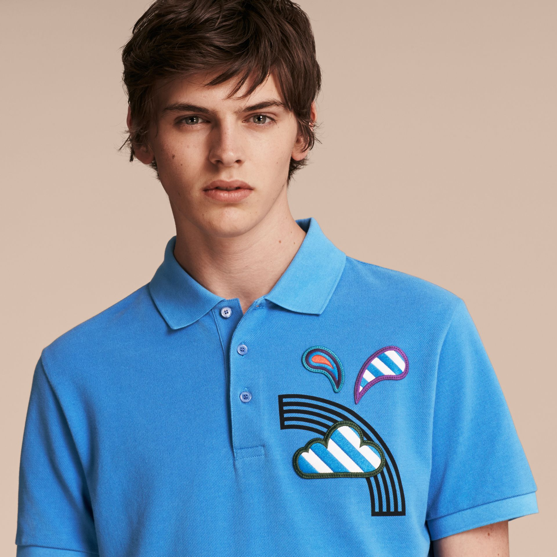 Weather Appliqué Cotton Piqué Polo Shirt Chalk Blue - gallery image 5