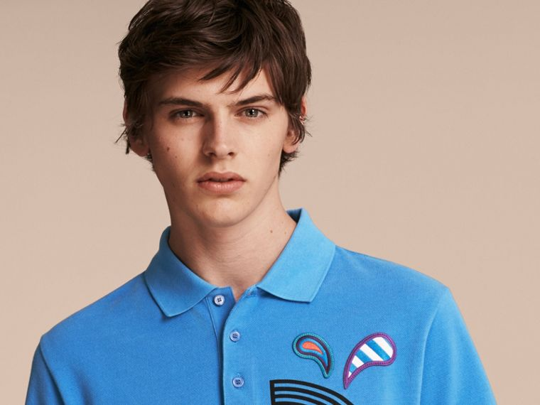 Chalk blue Weather Appliqué Cotton Piqué Polo Shirt - cell image 4