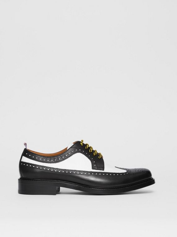 Brogue Detail Two-tone Leather Derby Shoes in Black/optic White