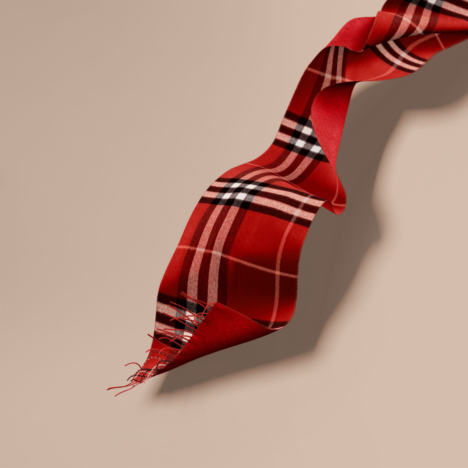 Reversible Metallic Check Cashmere Scarf in Parade Red - gallery image 1