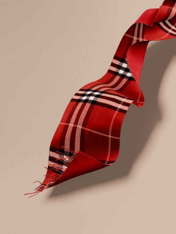 Reversible Metallic Check Cashmere Scarf in Parade Red | Burberry Australia