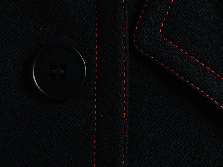 Black Wool Silk Pea Coat with Regimental Topstitching - cell image 1