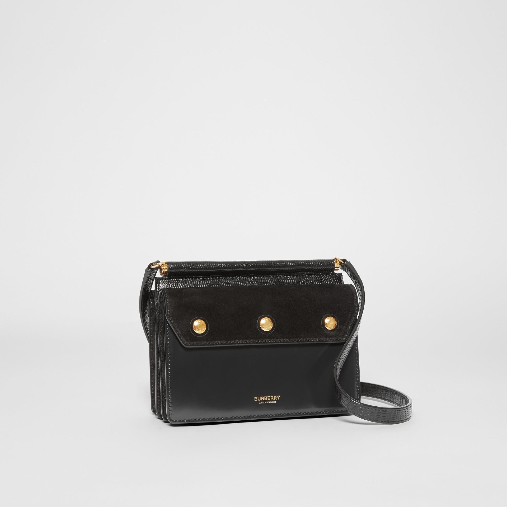 Mini sac Title en cuir et cuir velours avec poche (Noir) - Femme | Burberry - photo de la galerie 6