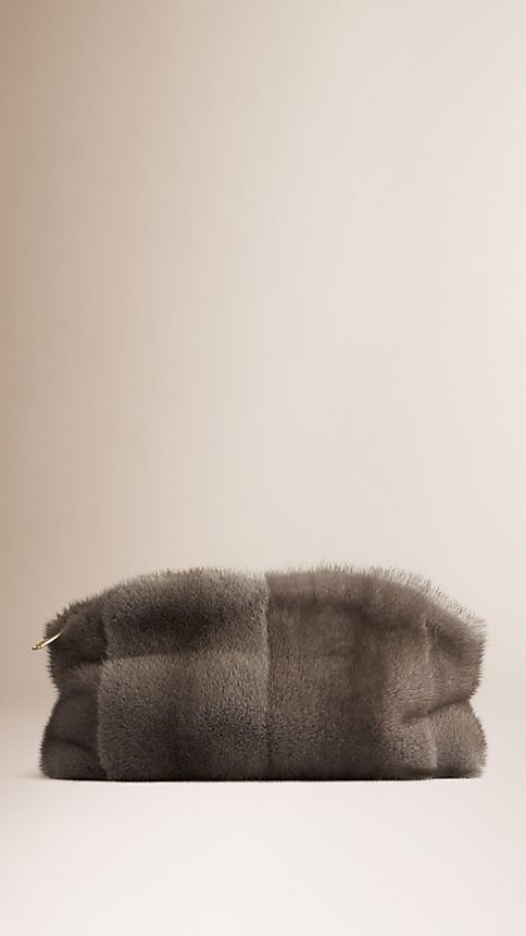Mid grey melange Mink Clutch Bag - Image 1