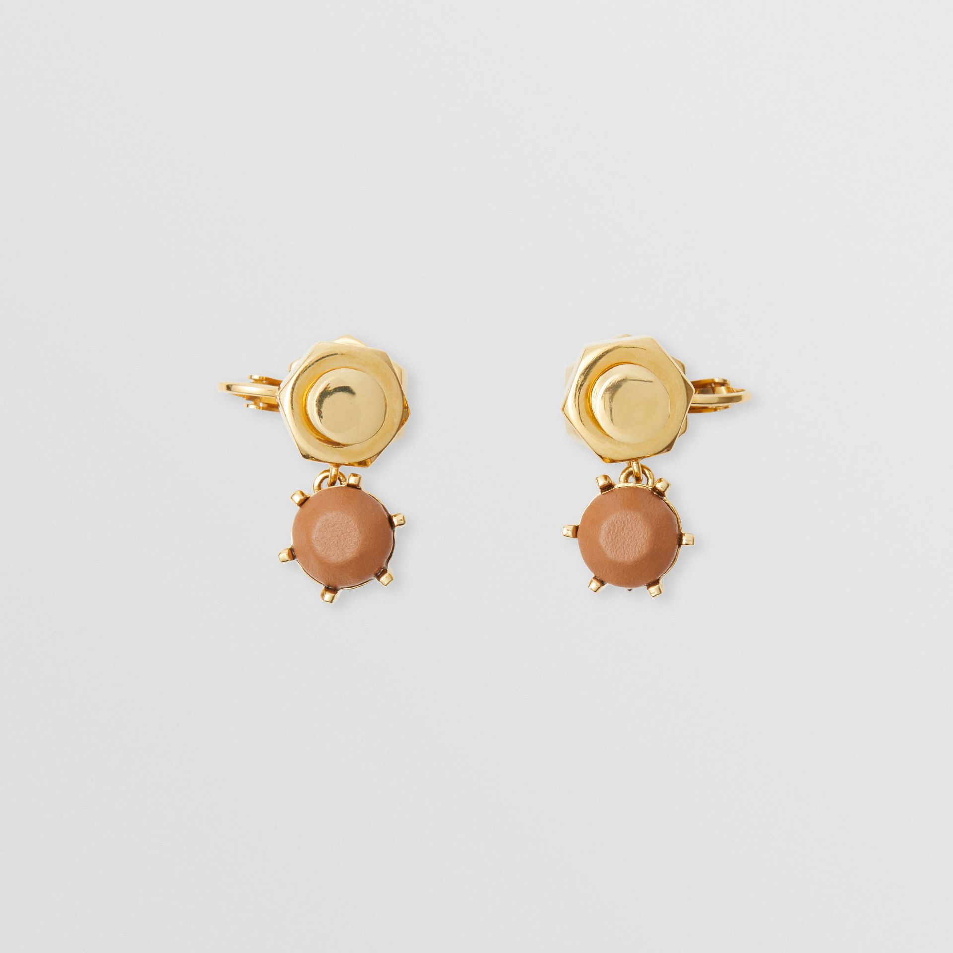 Leather Charm Gold-plated Nut and Bolt Earrings in Nutmeg/light - Women | Burberry Australia - gallery image 0