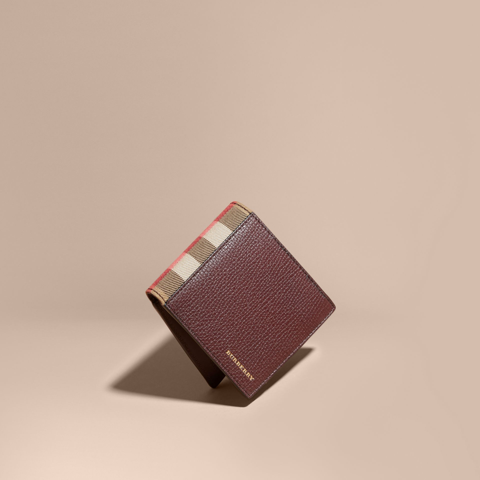 Leather and House Check International Bifold Wallet in Wine | Burberry - gallery image 1