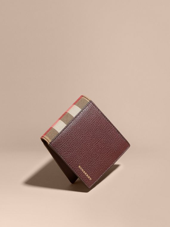 Leather and House Check International Bifold Wallet in Wine | Burberry Canada
