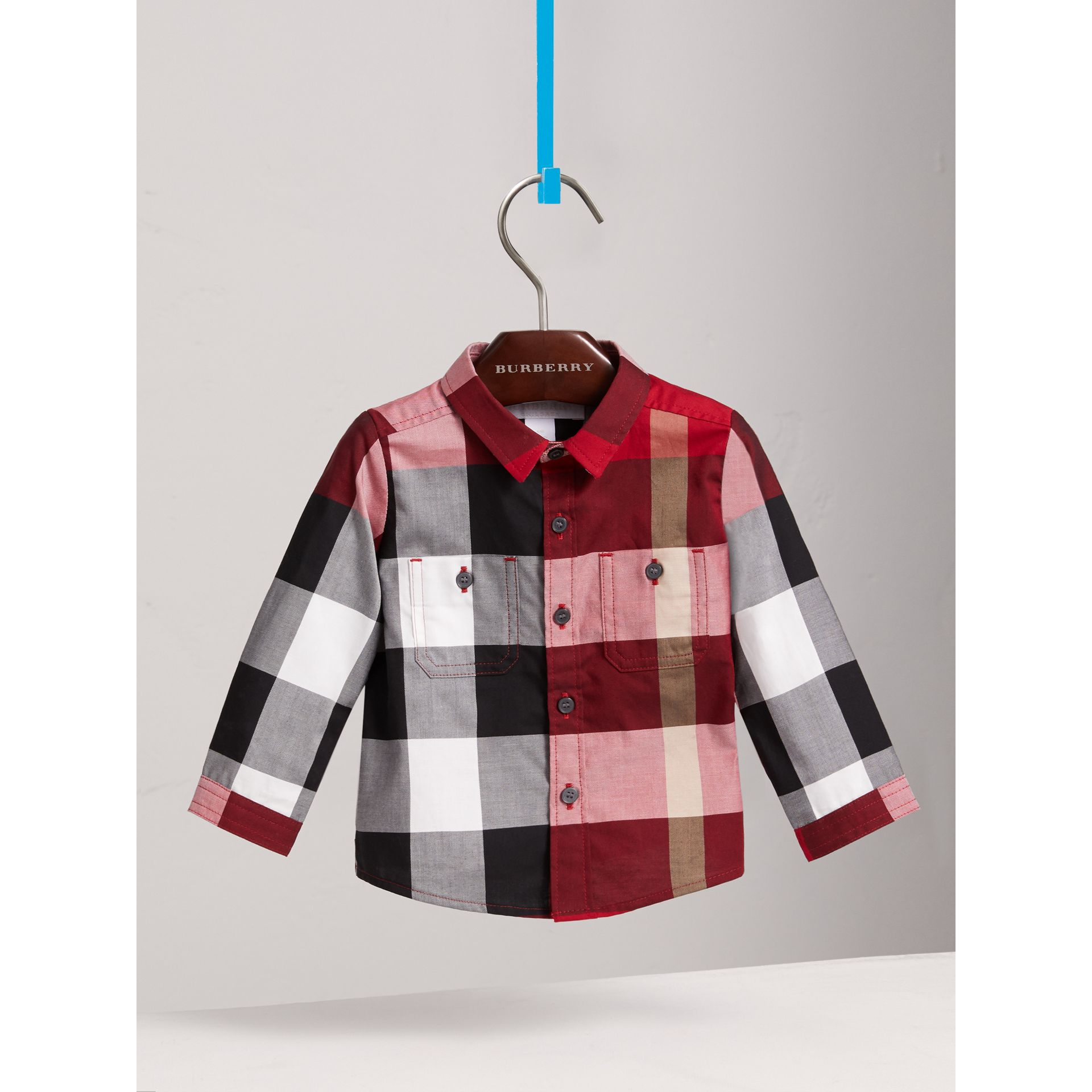 Check Cotton Shirt in Parade Red | Burberry - gallery image 0