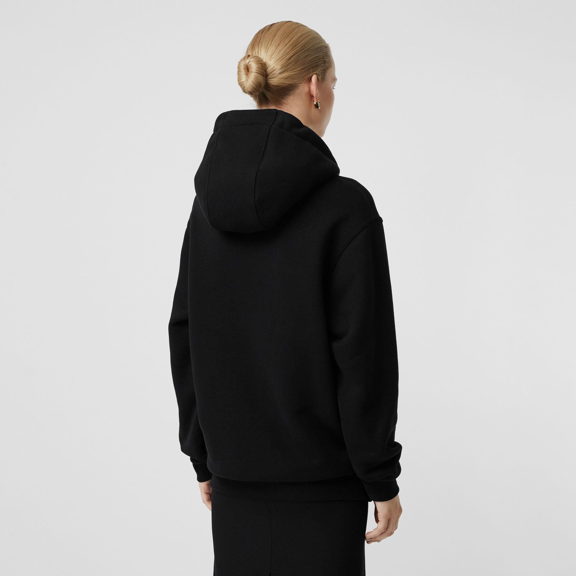 Chain Detail Cotton Oversized Hoodie in Black - Women | Burberry Australia - gallery image 2