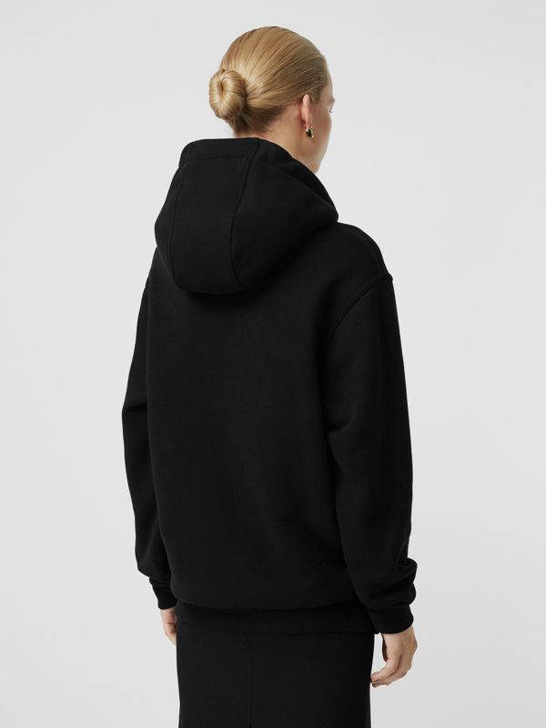 Chain Detail Cotton Oversized Hoodie in Black - Women | Burberry Australia - cell image 2