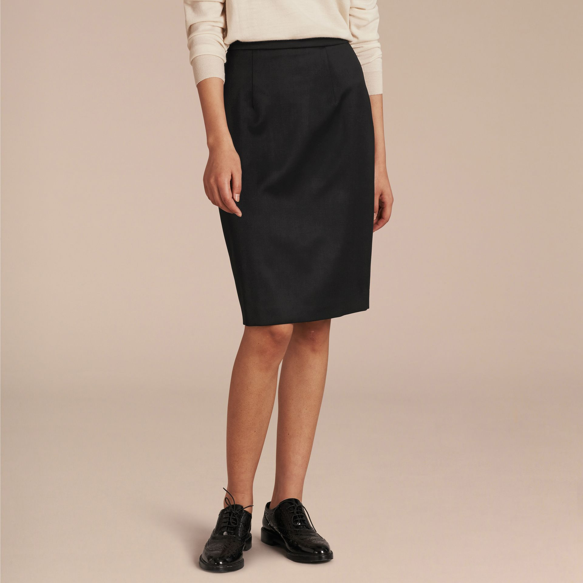 Stretch Virgin Wool Tailored Pencil Skirt in Black - gallery image 6