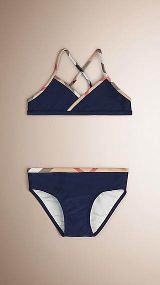 Bikini avec détails à motif check