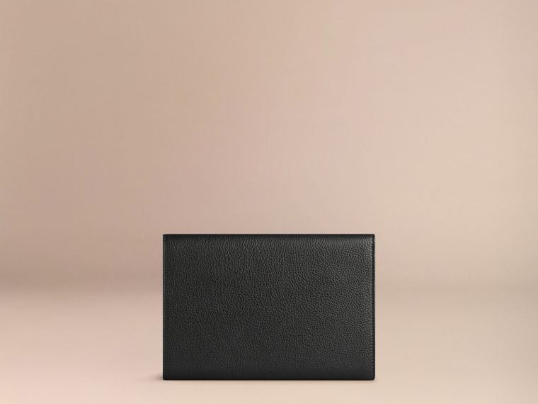 Grainy Leather Travel Wallet in Black | Burberry - cell image 2