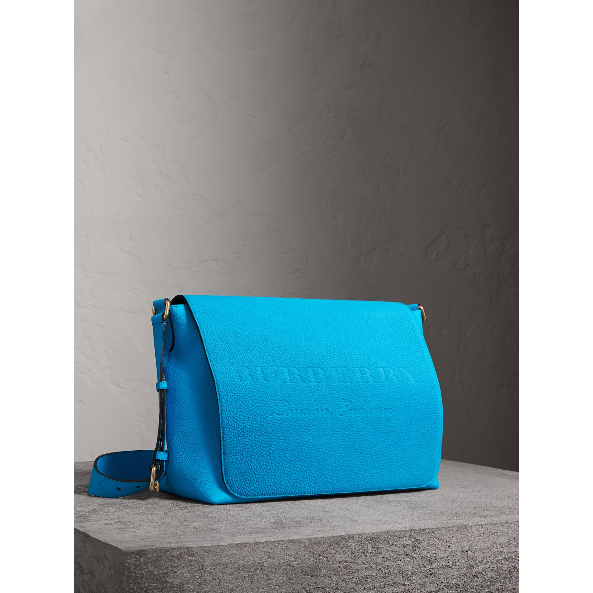 Large Embossed Leather Messenger Bag in Neon Blue | Burberry - gallery image 6