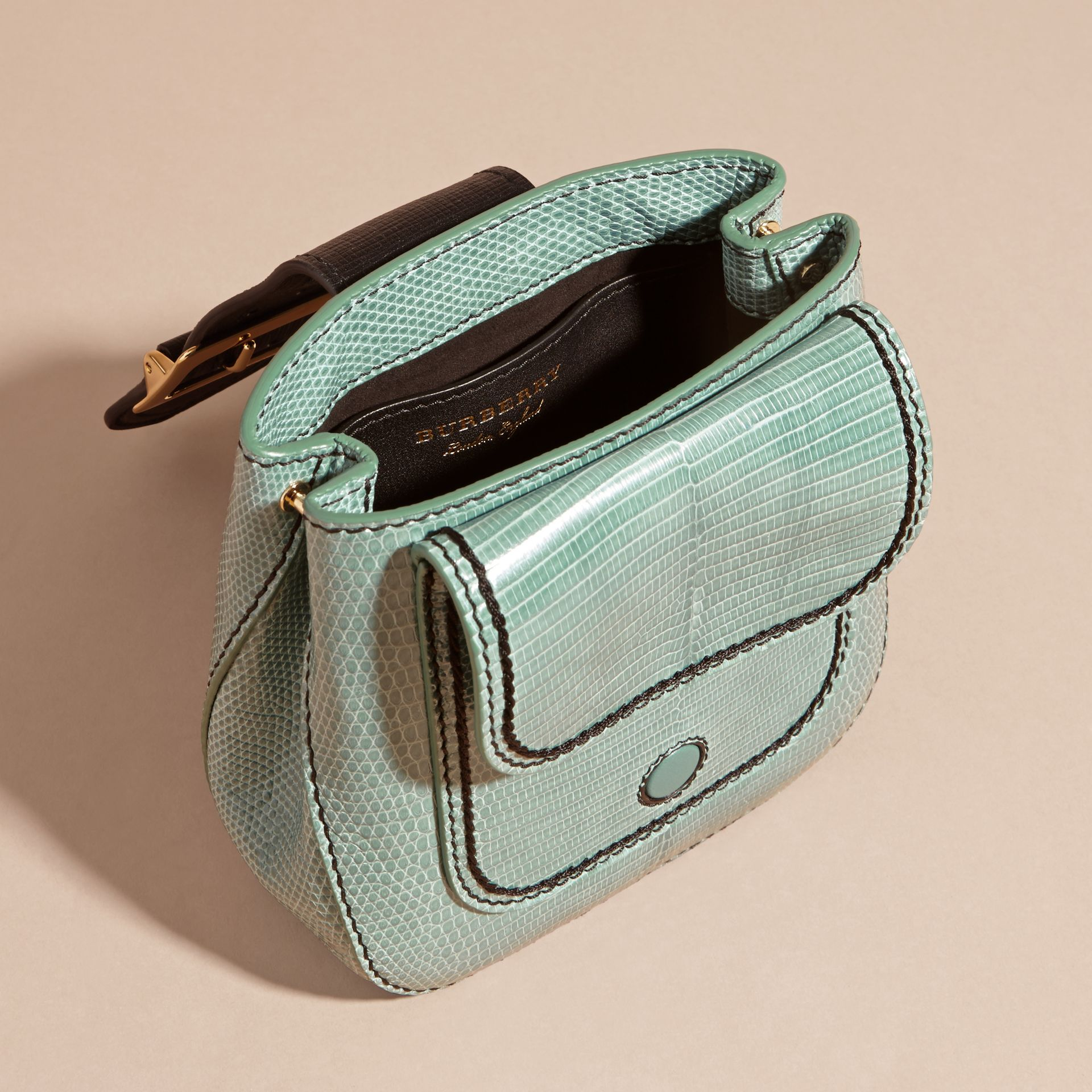 Dusty mint The Small Square Buckle Bag in Lizard - gallery image 4