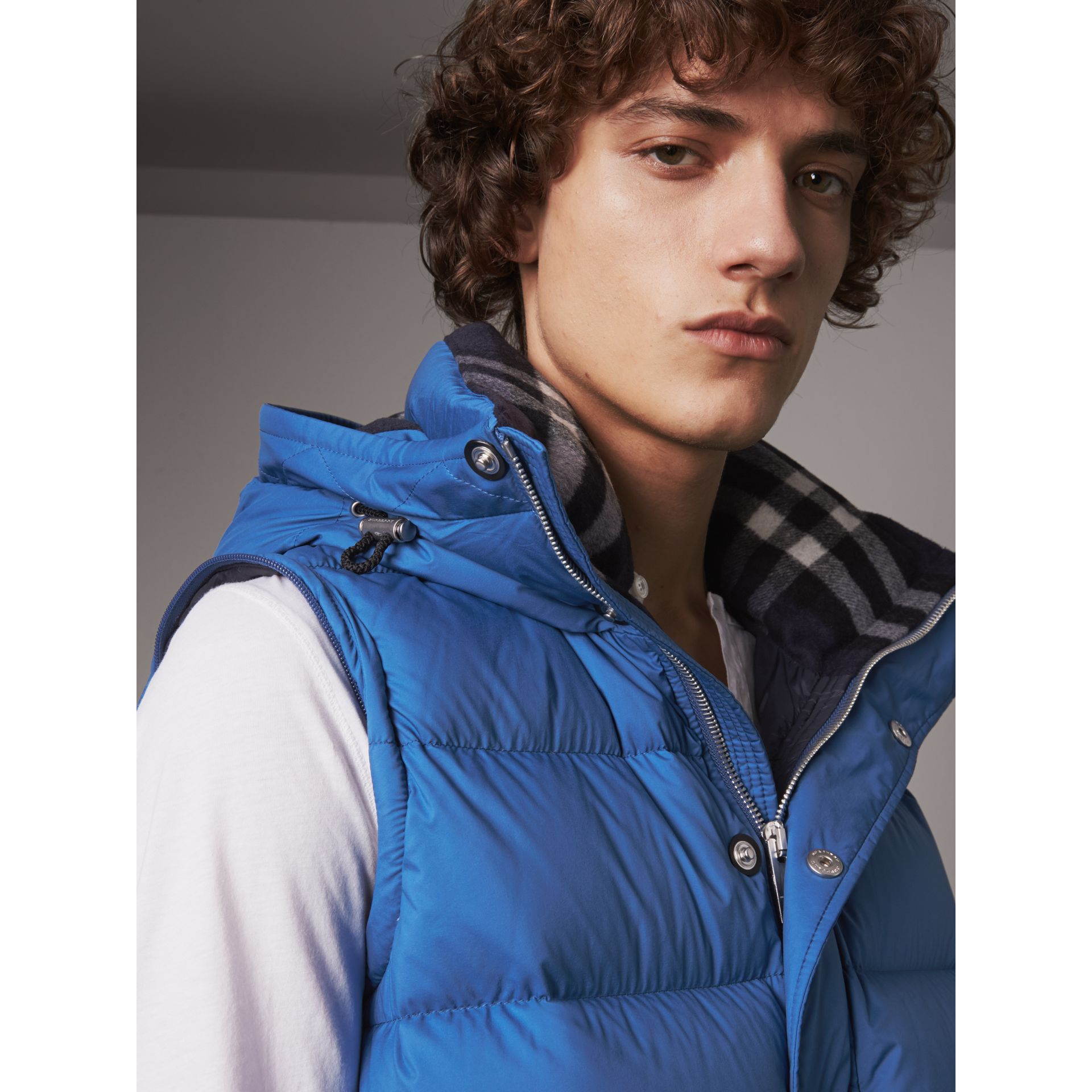 Detachable-sleeve Down-filled Puffer Jacket in Cerulean Blue - Men | Burberry - gallery image 1
