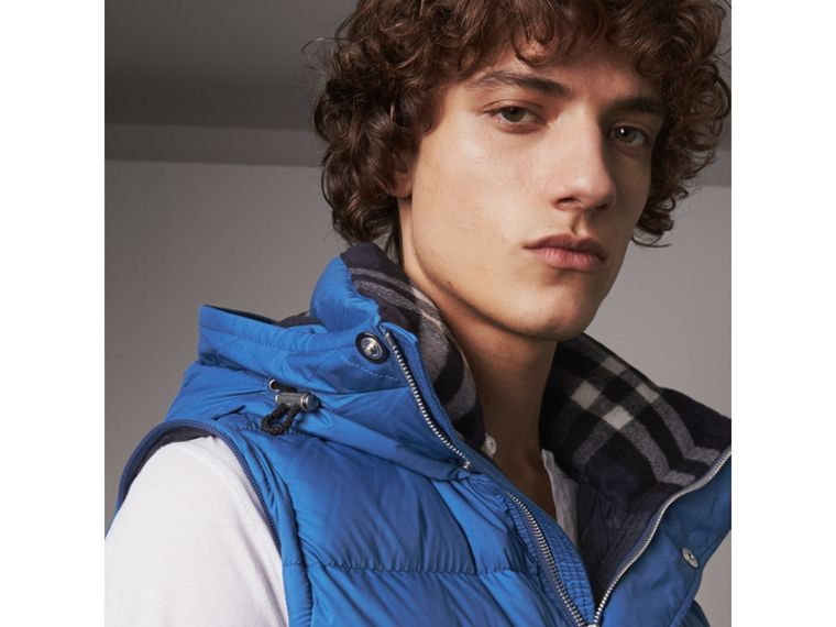 Detachable-sleeve Down-filled Puffer Jacket in Cerulean Blue - Men | Burberry Singapore - cell image 1