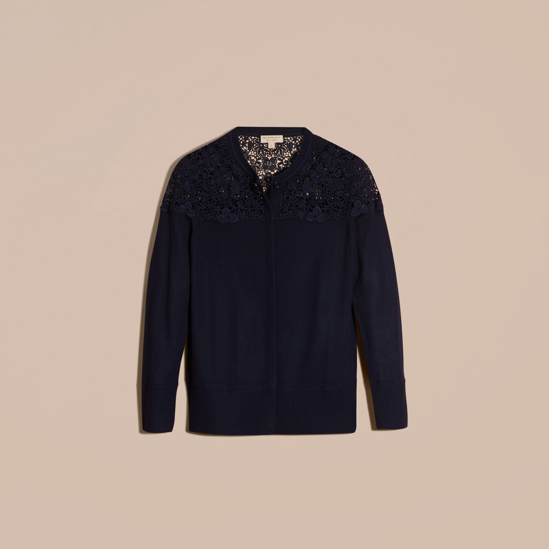 Navy Lace Yoke Merino Wool Cardigan Navy - gallery image 4