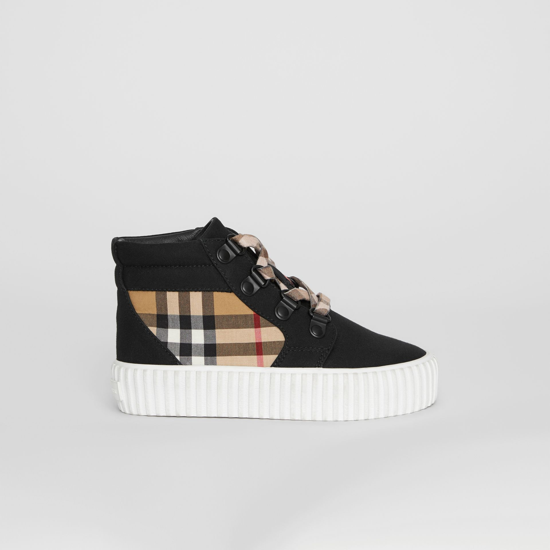 Vintage Check Detail High-top Sneakers in Black/antique Yellow - Children | Burberry - gallery image 3