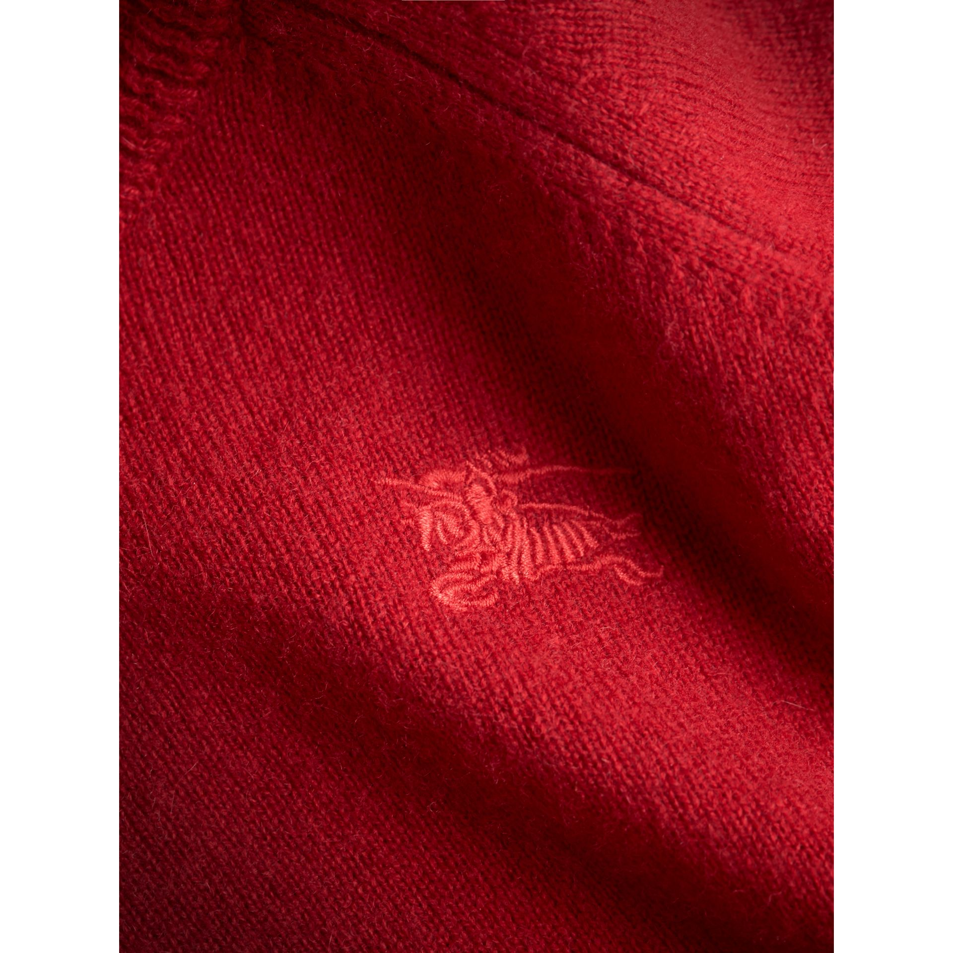 Check Cuff Cashmere Sweater in Parade Red - Girl | Burberry - gallery image 1