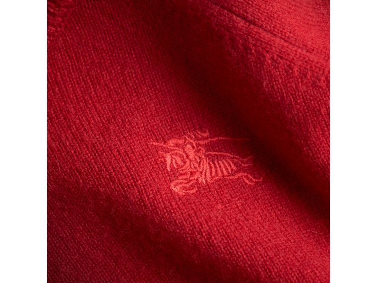 Check Cuff Cashmere Sweater in Parade Red - Girl | Burberry Australia - cell image 1
