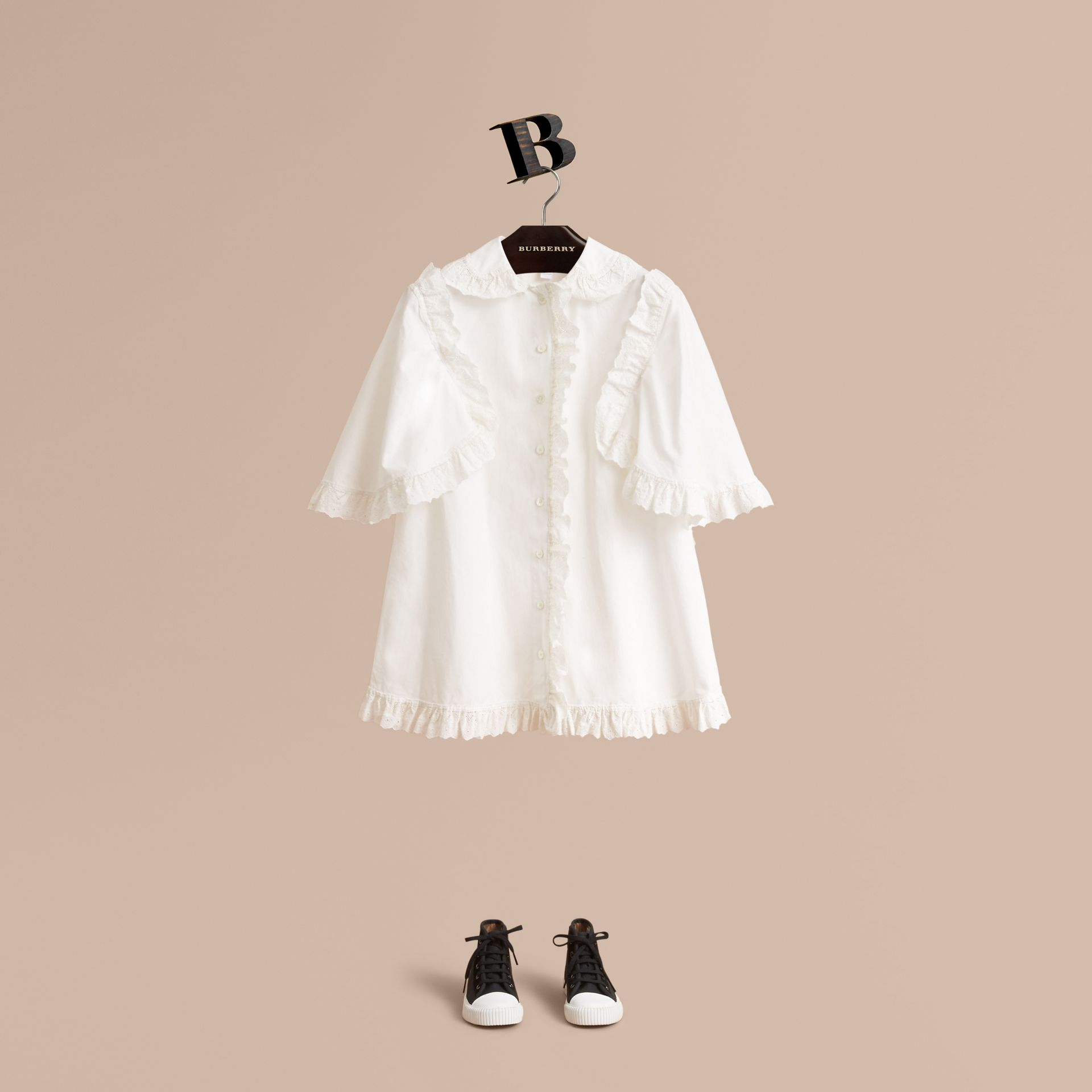 Broderie Anglaise Ruffle Cotton Poplin Shirt in White - Girl | Burberry - gallery image 1