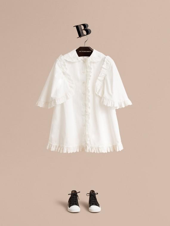 Camicia in popeline di cotone con arricciature in pizzo sangallo