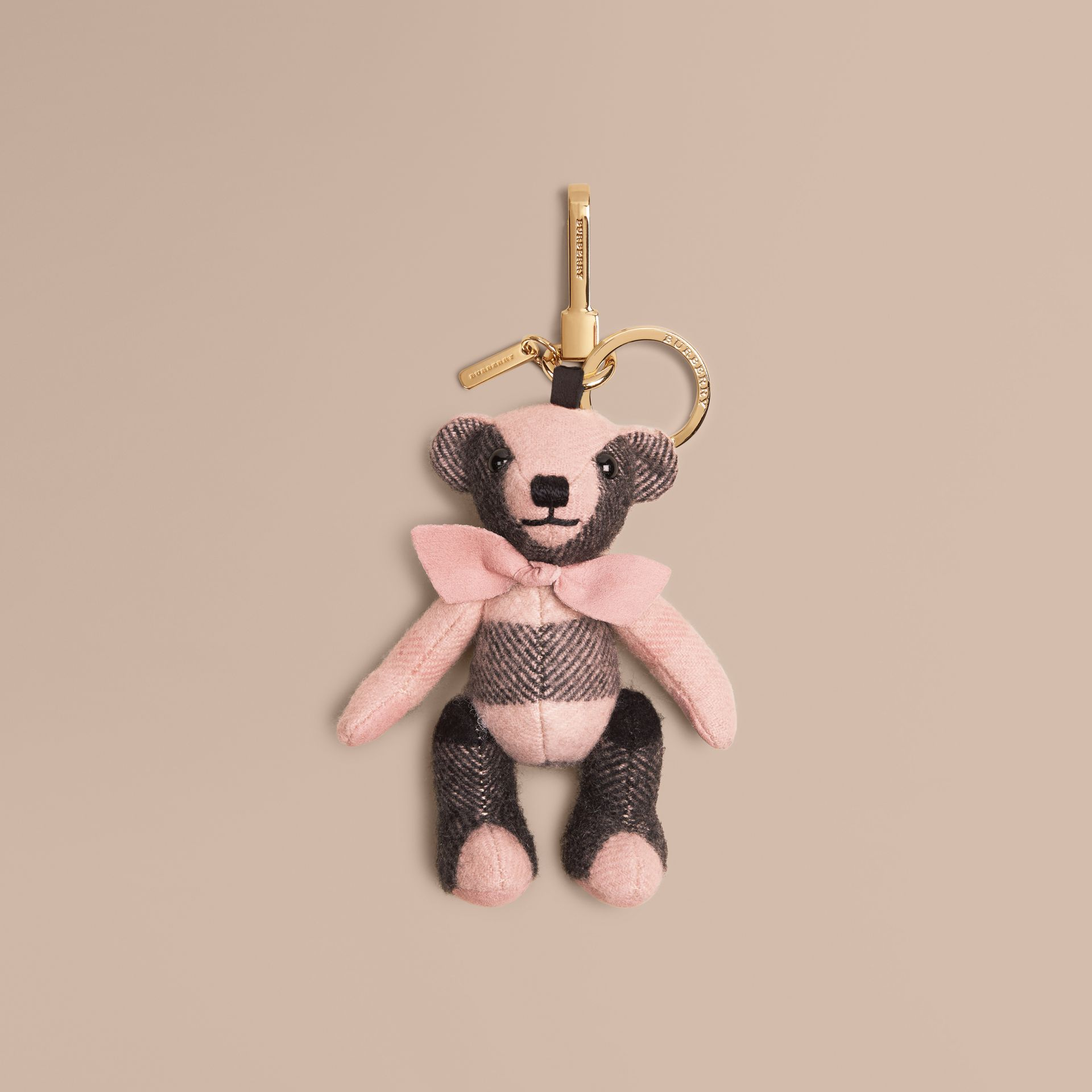 Thomas Bear Charm in Check Cashmere in Ash Rose | Burberry - gallery image 1