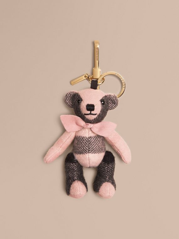 Thomas Bear Charm in Check Cashmere in Ash Rose | Burberry