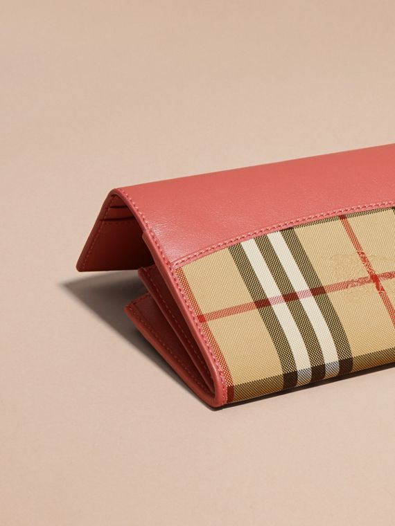 Horseferry Check and Leather Continental Wallet Antique Rose - cell image 3