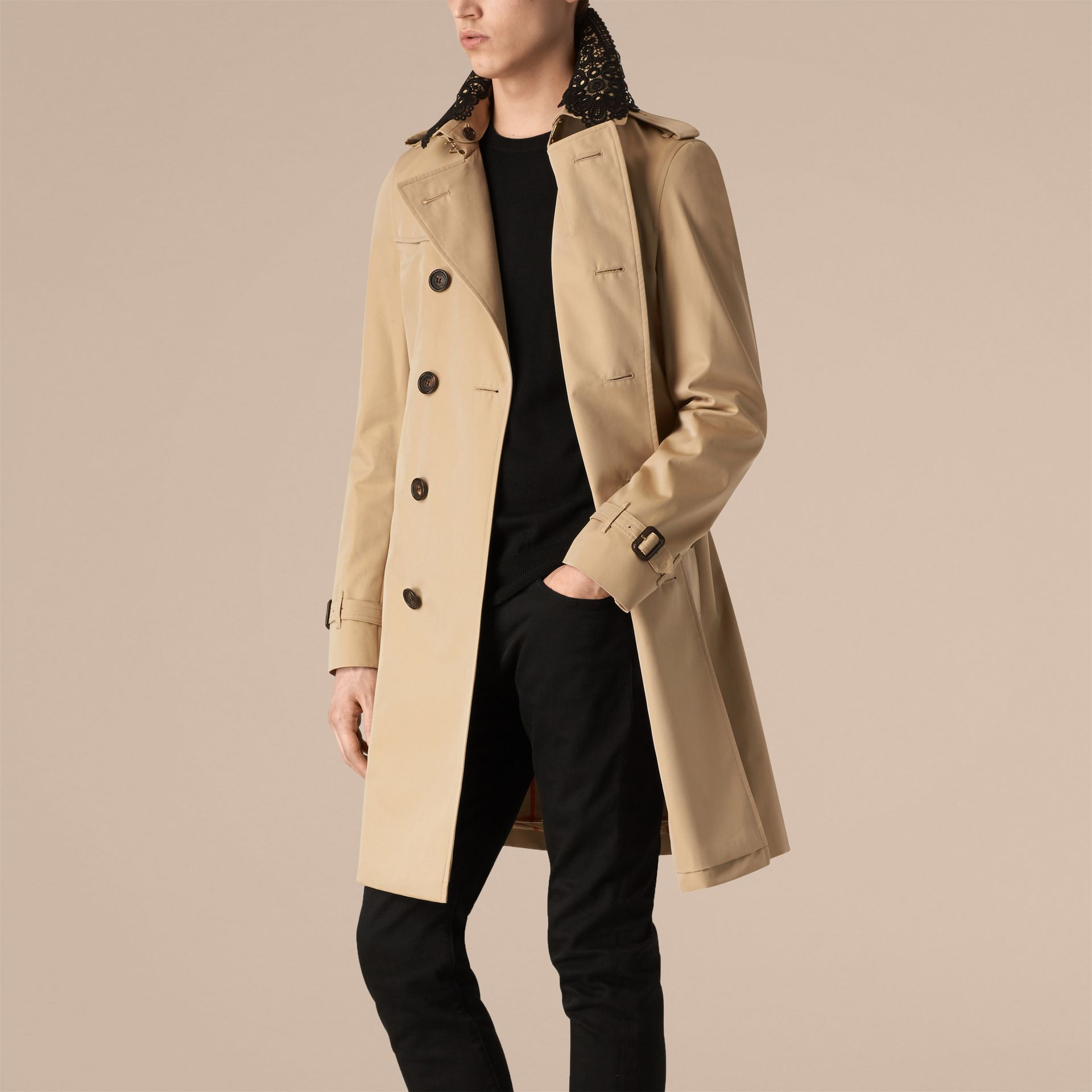 Honey The Chelsea – Gabardine Trench Coat with Lace Collar Honey - gallery image 1