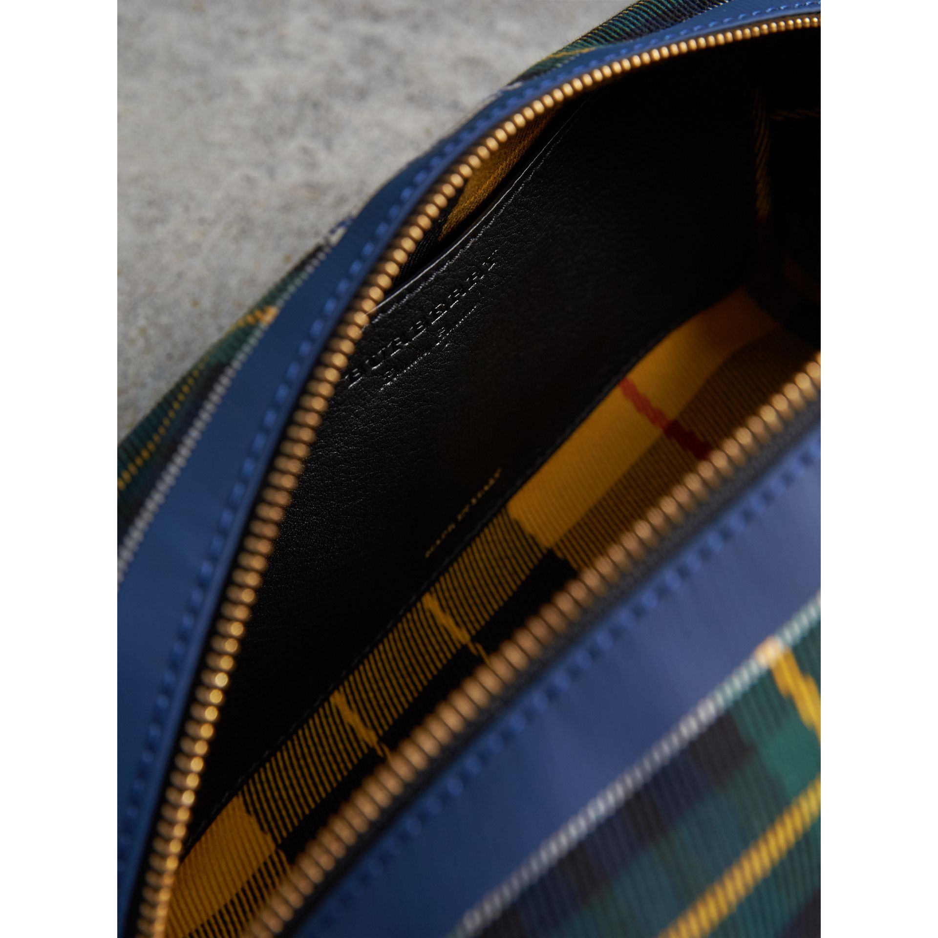 Tartan Cotton Pouch in Limestone | Burberry Singapore - gallery image 5