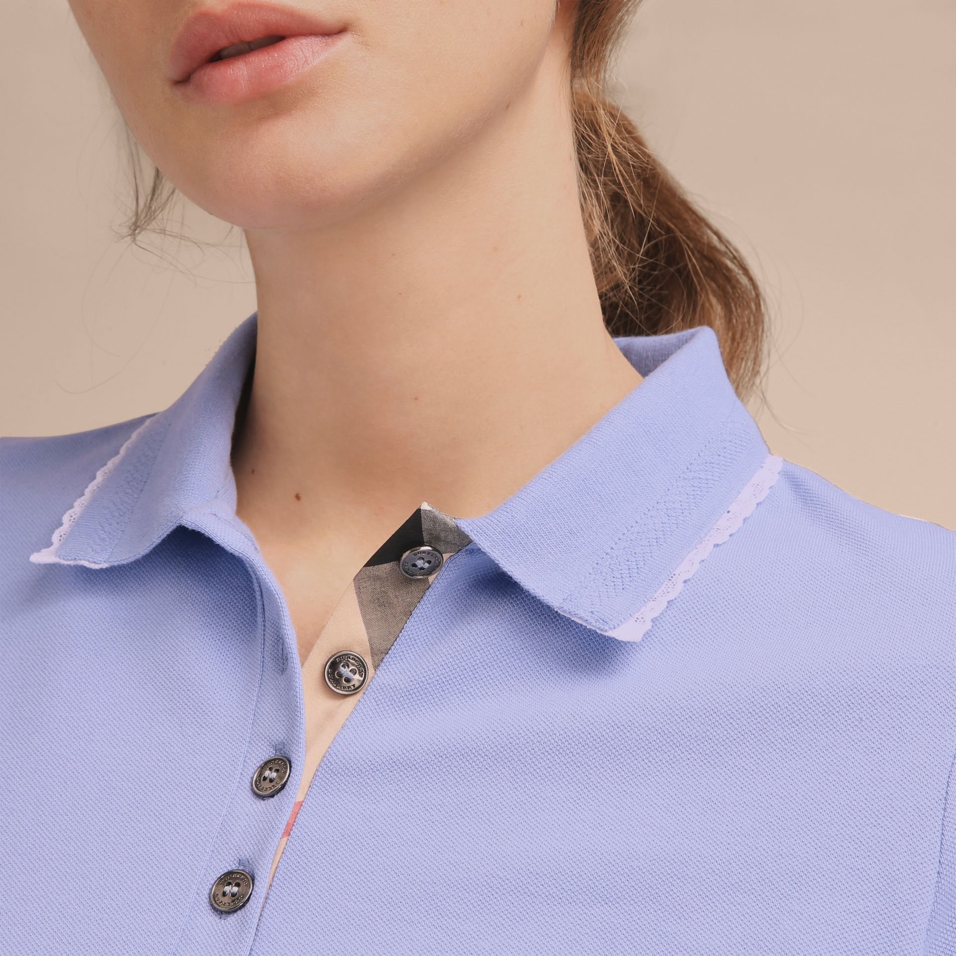 Lace Trim Cotton Blend Polo Shirt with Check Detail in Pale Cornflower Blue - Women | Burberry - gallery image 5