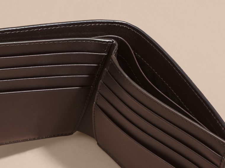 Border Detail London Leather Folding Wallet Dark Navy - cell image 4