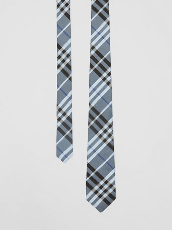 Classic Cut Vintage Check Silk Tie in Light Steel Blue